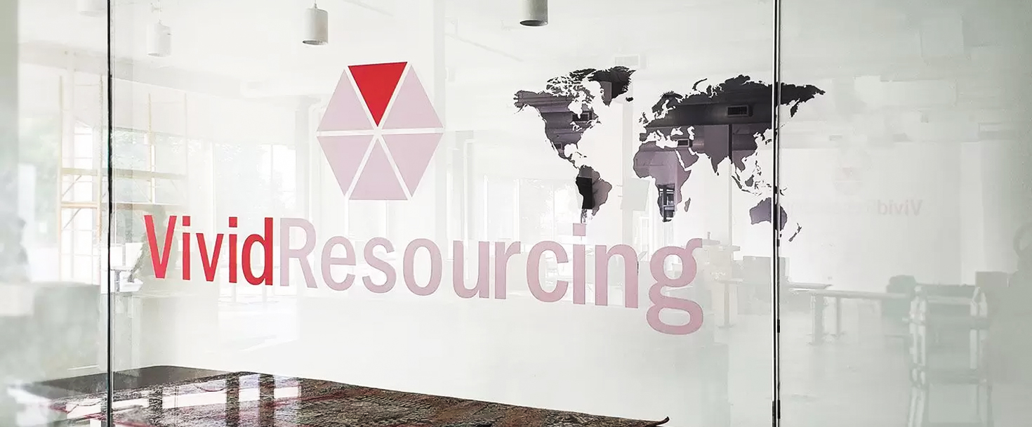 Vivid Resourcing office signage made of opaque vinyl for window branding