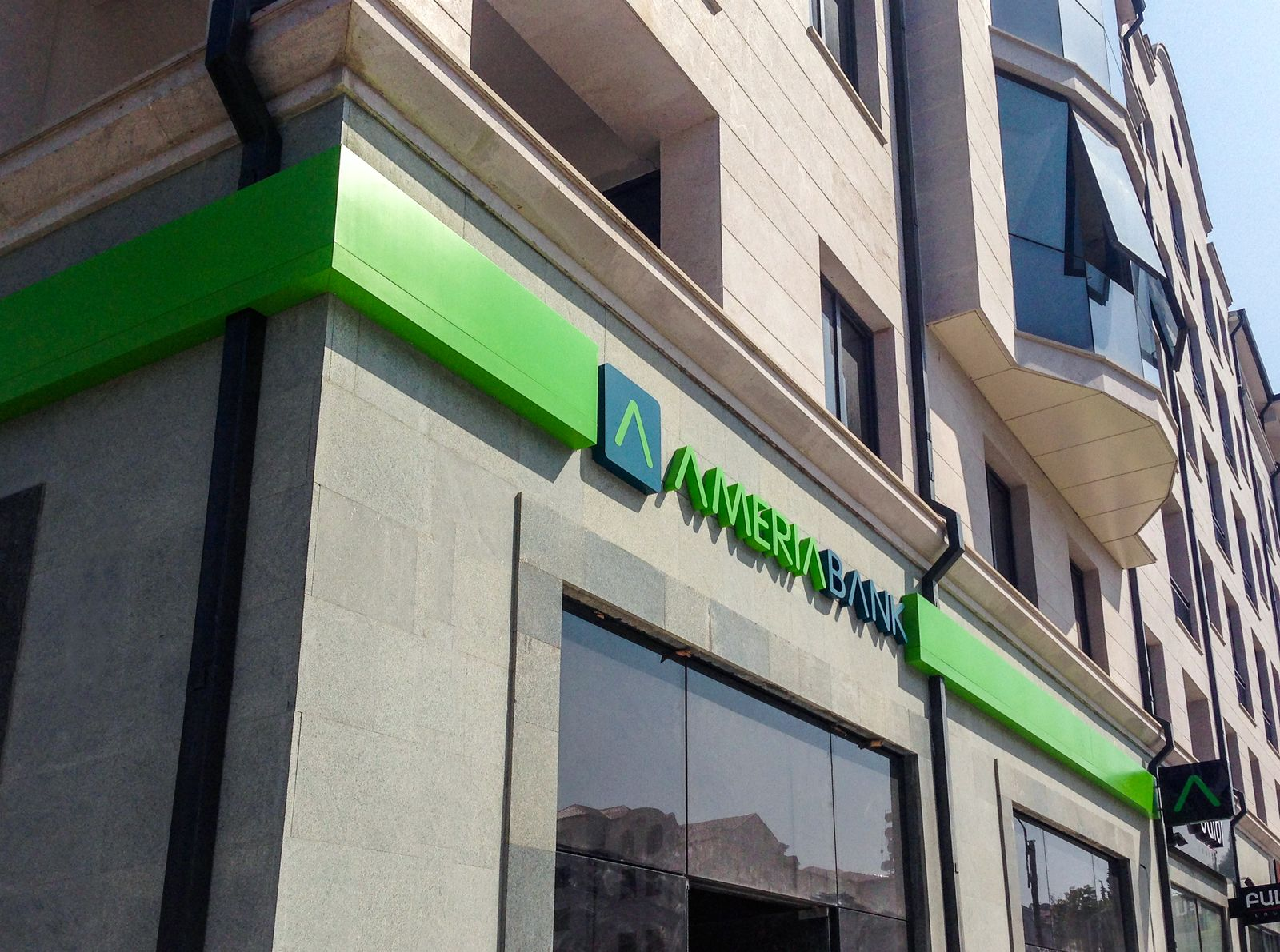 Ameriabank 3d acrylic letters and logo sign with modern style green and blue colors for bank exterior branding