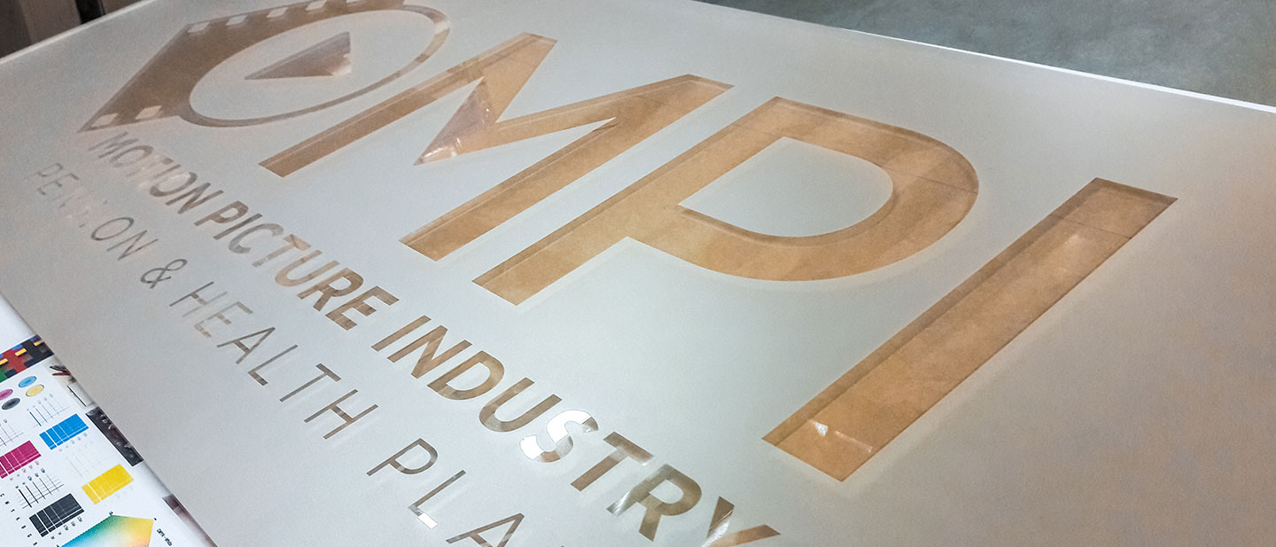 Acrylic Sign Covered with Frosted Vinyl