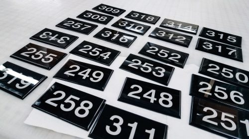 Acrylic number Signs