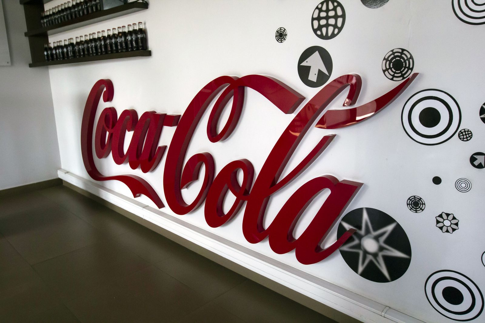 Coca-Cola 3d acrylic letters fixed to the wall with direct mounting for interior branding