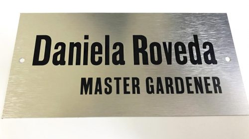 Corporate brushed aluminum sign