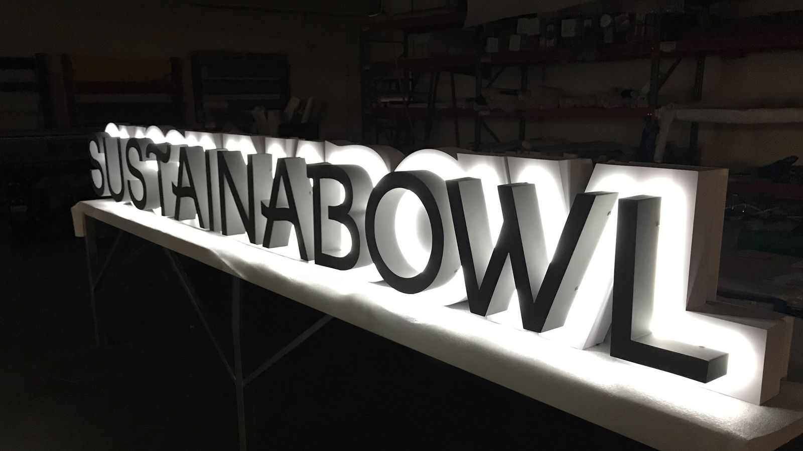 Backlit channel letters for Sustainabowl