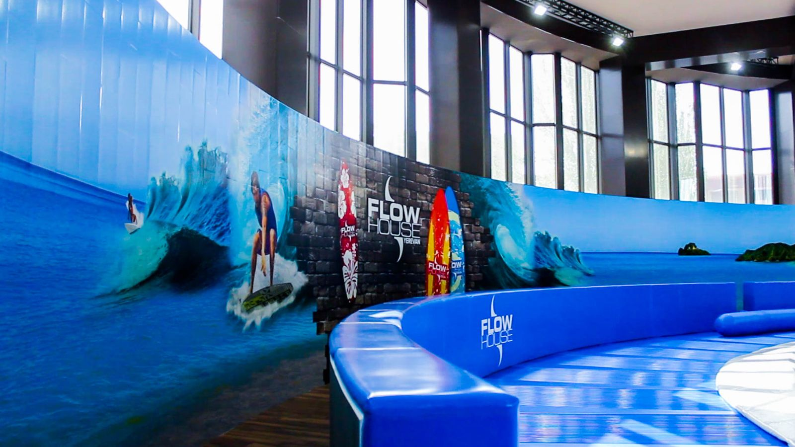 Flow House interior wall sign mural with vibrant graphics made of opaque vinyl for designing