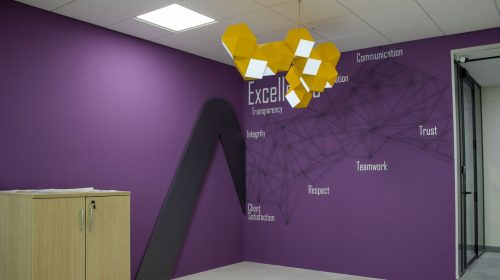 Ameriabank custom indoor hanging sign in a decorative chandelier style made of PVC and acrylic