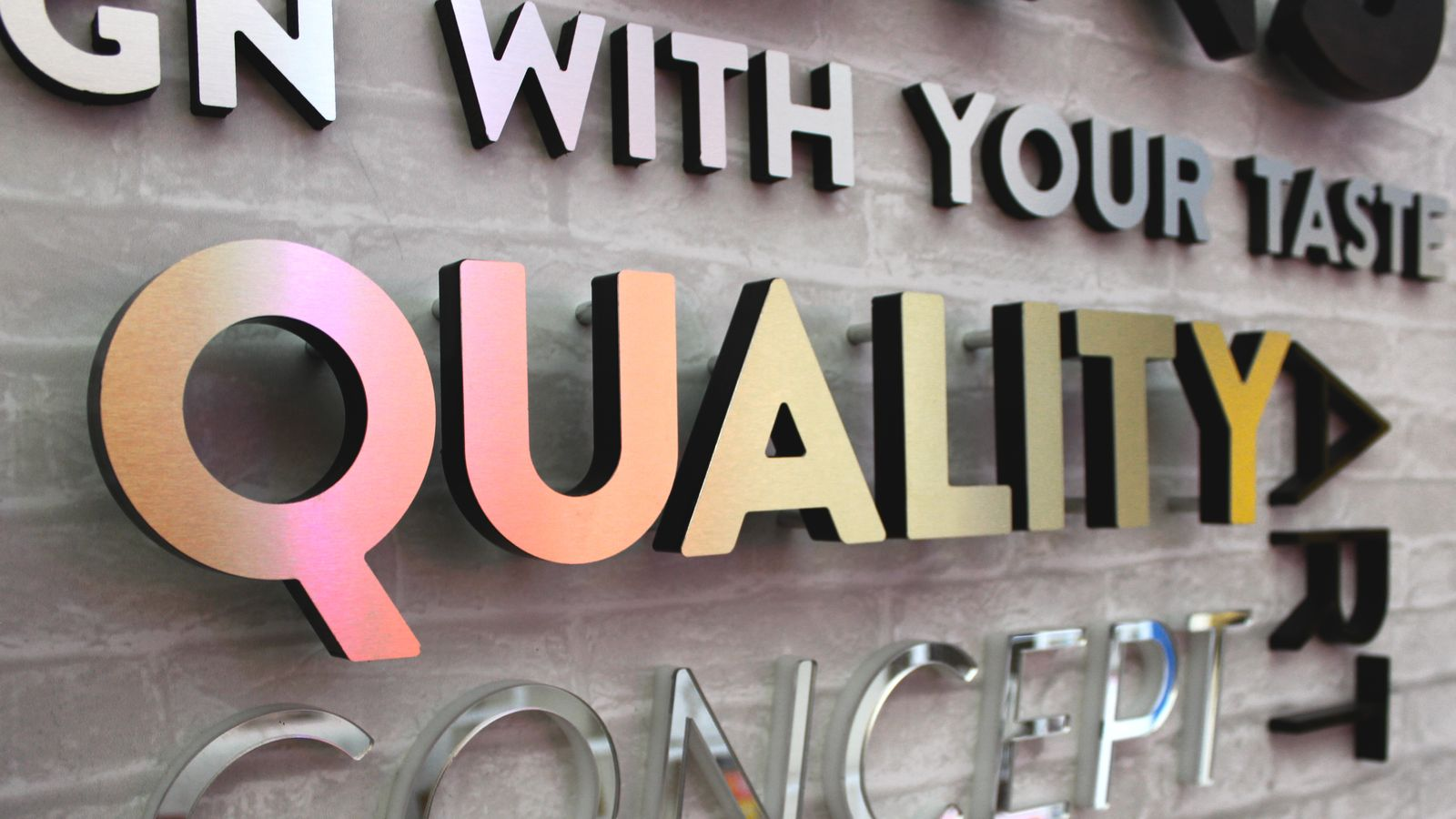 sample 3d wall letters mounted with different techniques made of ultra board for showroom