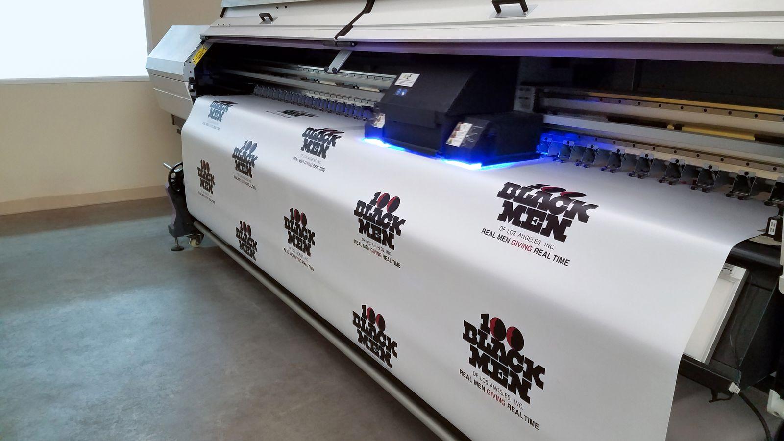 UV curing a vinyl banner