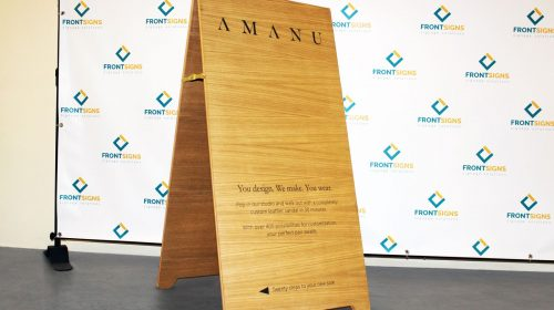Wooden A-frame sign for Amanu