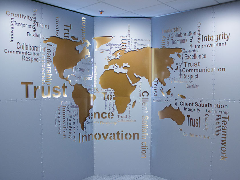 World Map Aluminum Sign