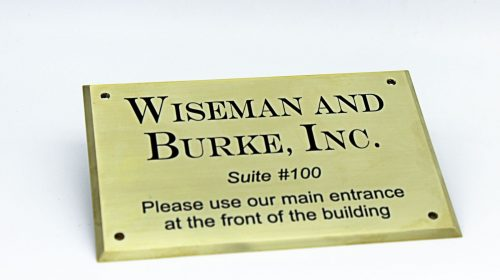 brushed aluminum nameplate