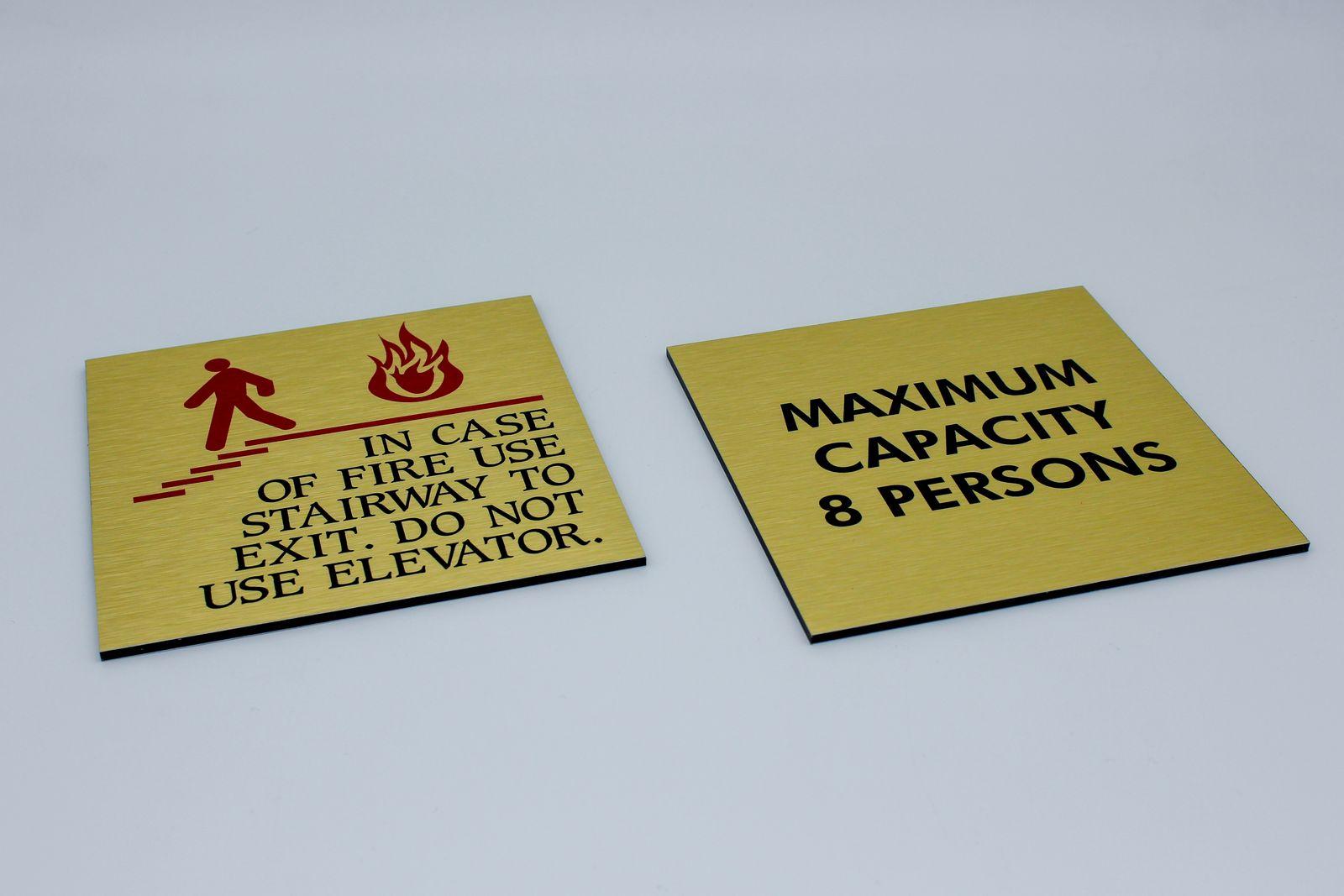 brushed aluminum warning signs