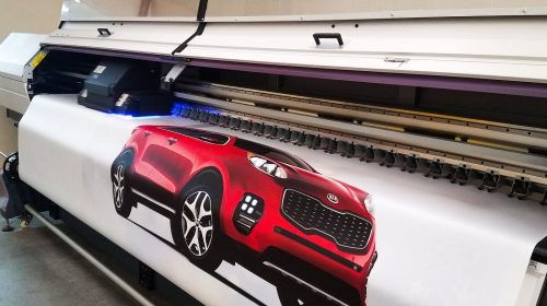 car printed on banner
