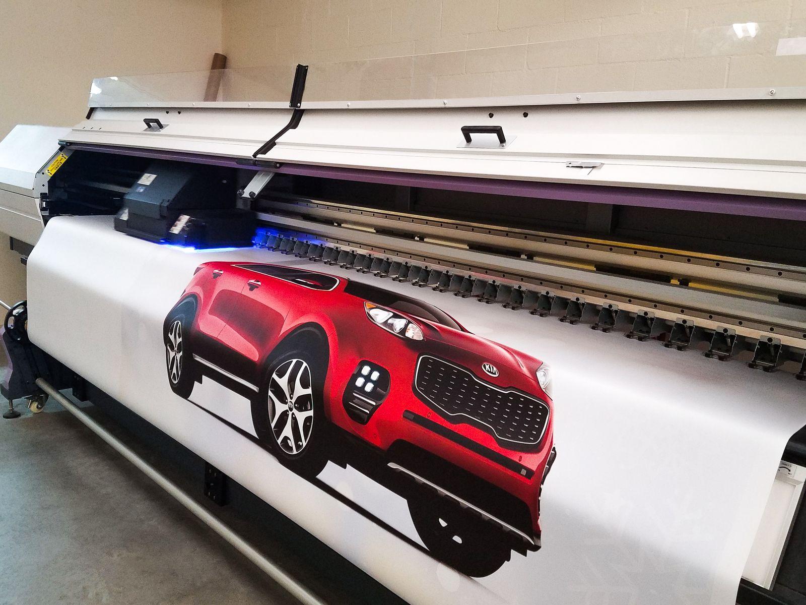 car printed on banner