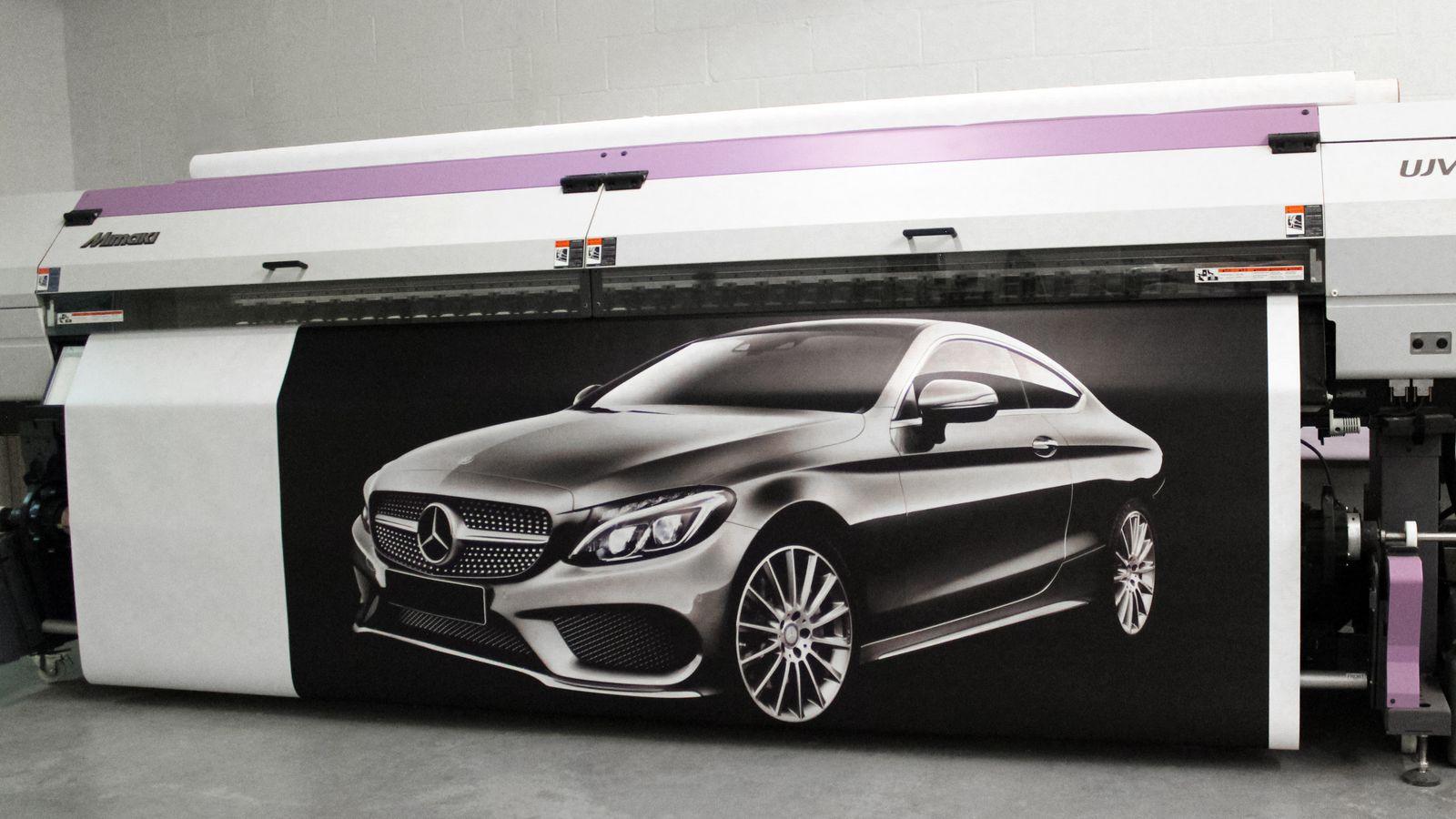 car printed on vinyl banner