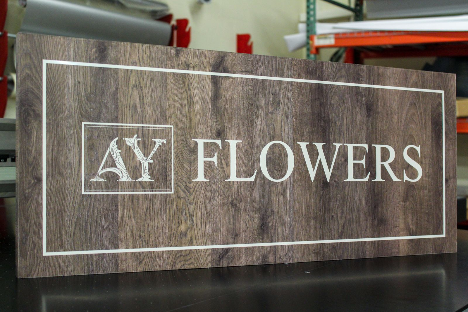 flowers wooden sign