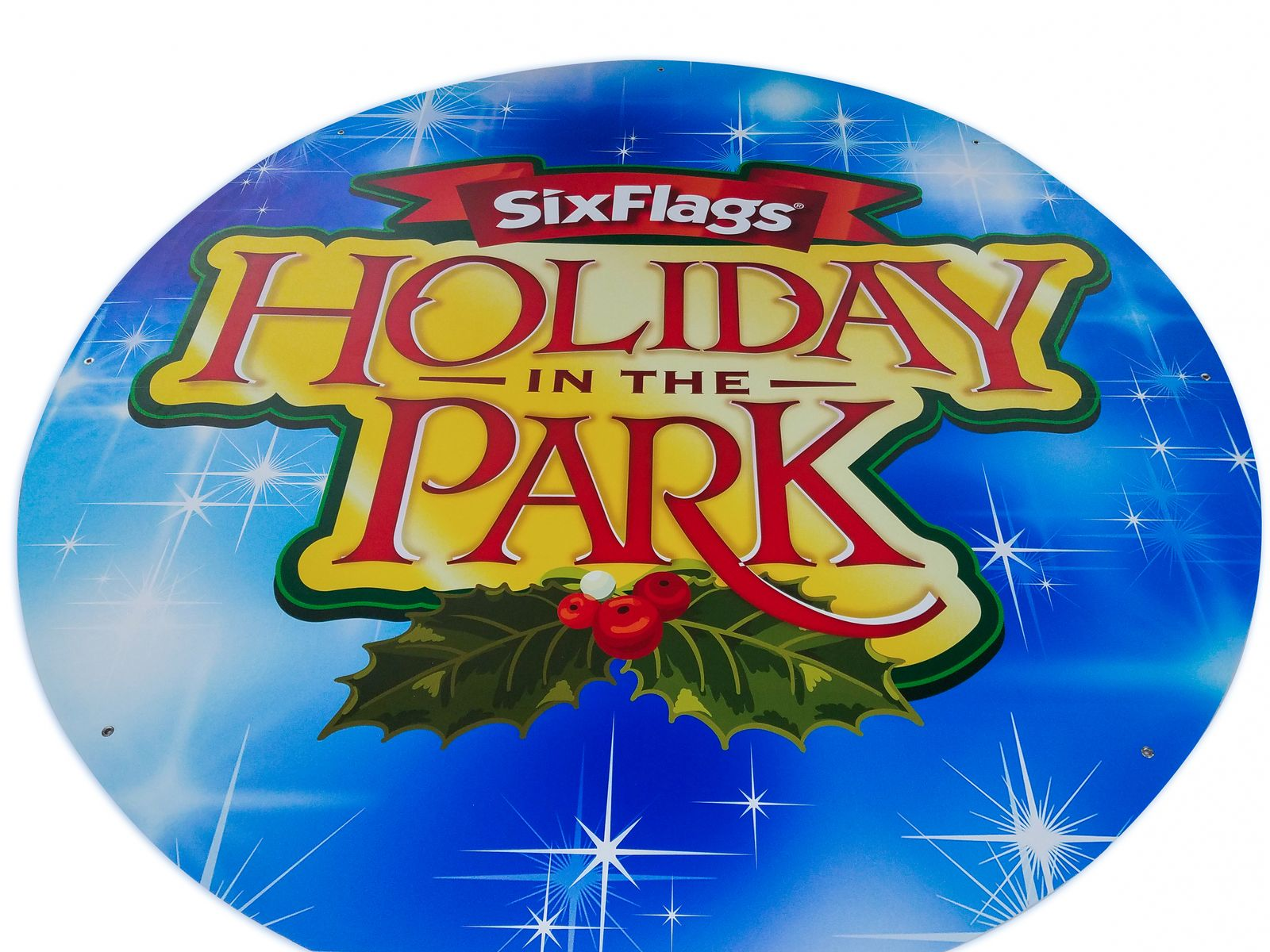 Six Flags light box sign with winter themed graphics made of lexan for theme park entrance holiday promotion