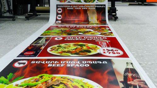 menu printed on decals