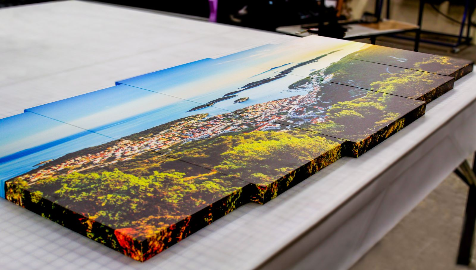 printed canvas collage