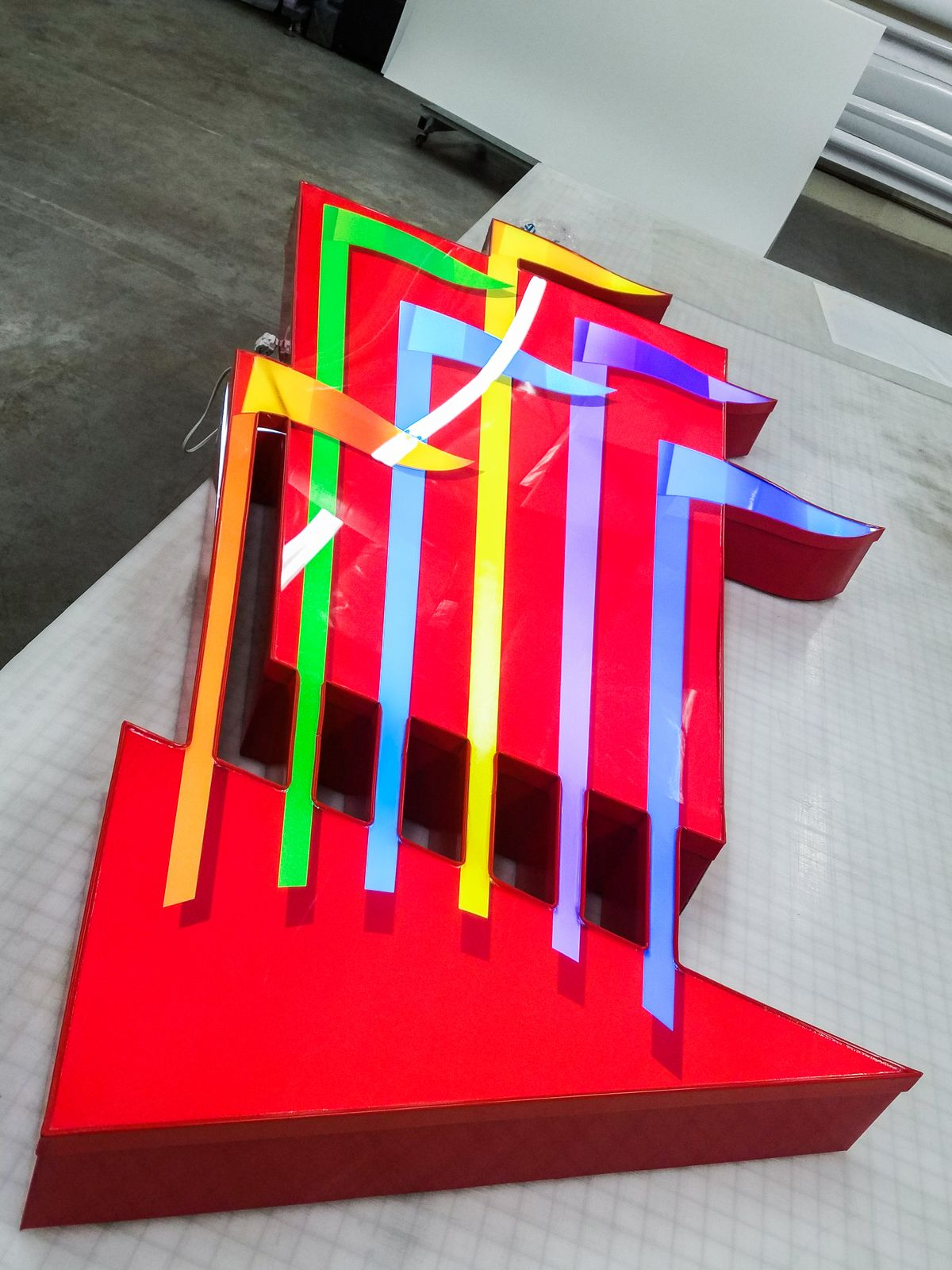 Six Flags custom light box logo sign made of acrylic and aluminum for theme park branding