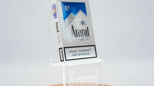 tabletop Acrylic and wood stand sign