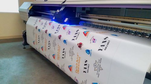 vinyl banner with logos