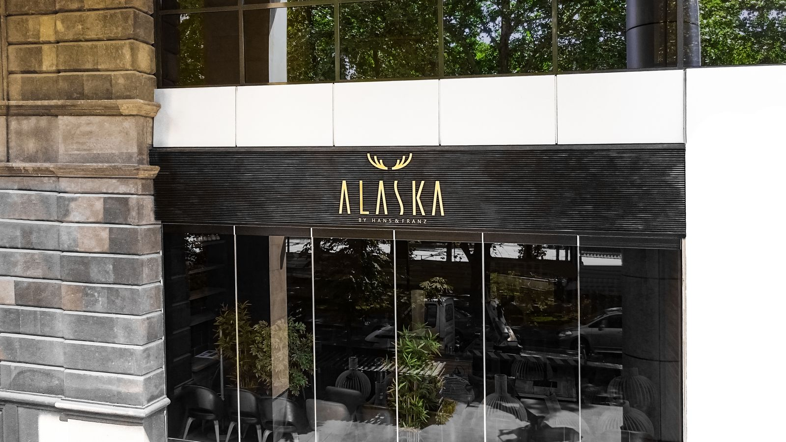 Alaska by Hanz & Franz 3d plastic letters with the company name and logo made of PVC for restaurant storefront branding