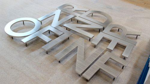 brushed aluminum 3d letters