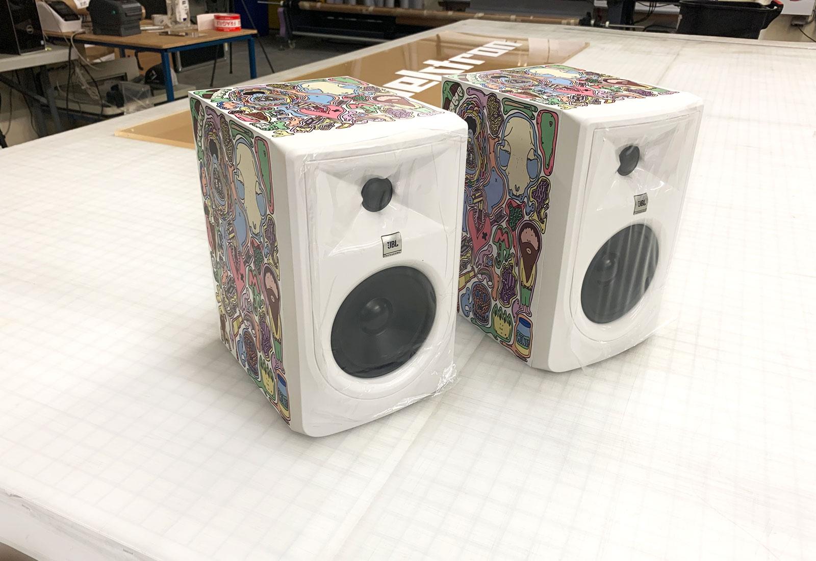 JBL speakers with custom Stickers