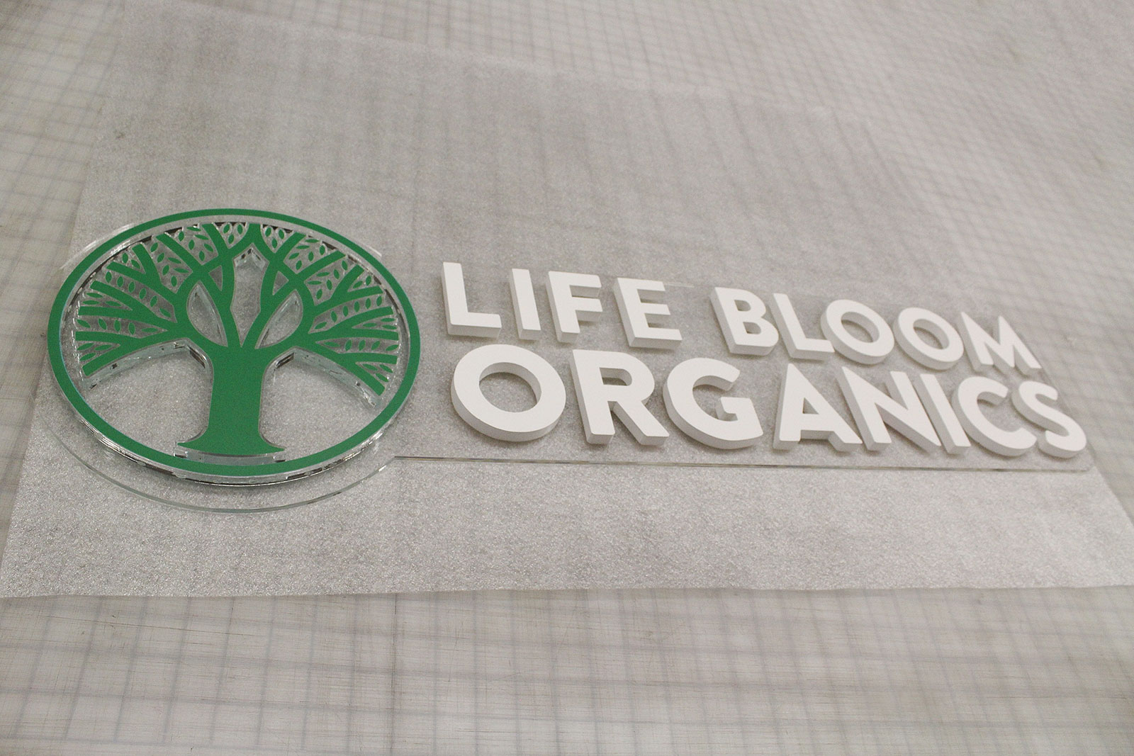 Life Bloom Organics 3d acrylic letters and logo sign on a transparent background for branding