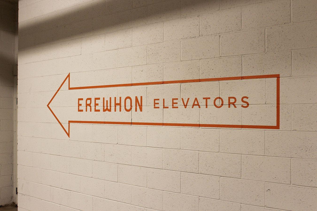 Erewhon elevator directional signs