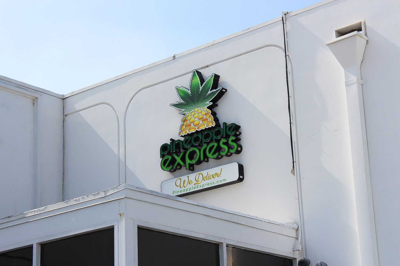 Pineapple Express lightbox logo sign in a pineapple shape made of aluminum and acrylic for business branding and visibility
