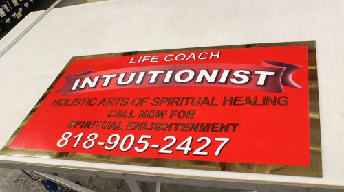 aluminum sign for intuitionist