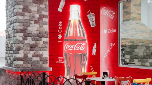 lighted coca-cola bottle
