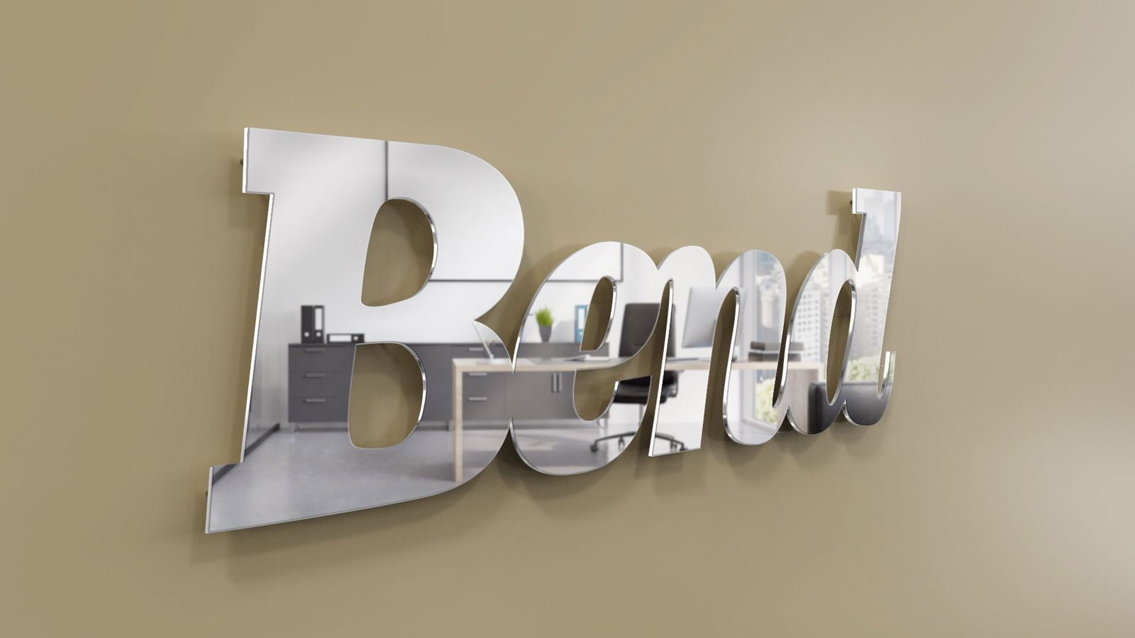 pin mounted letters rendering