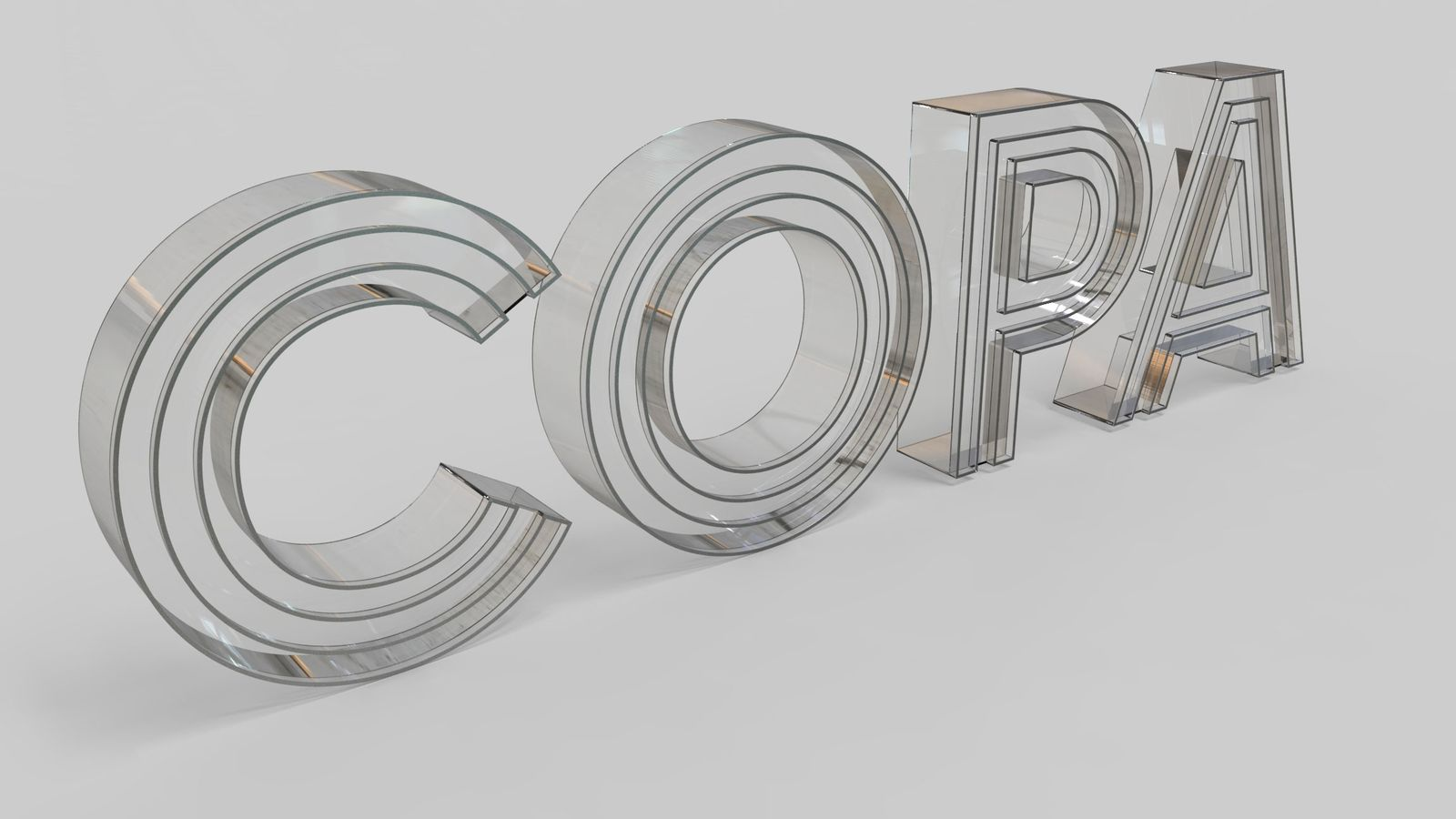 transparent letters 3d rendering