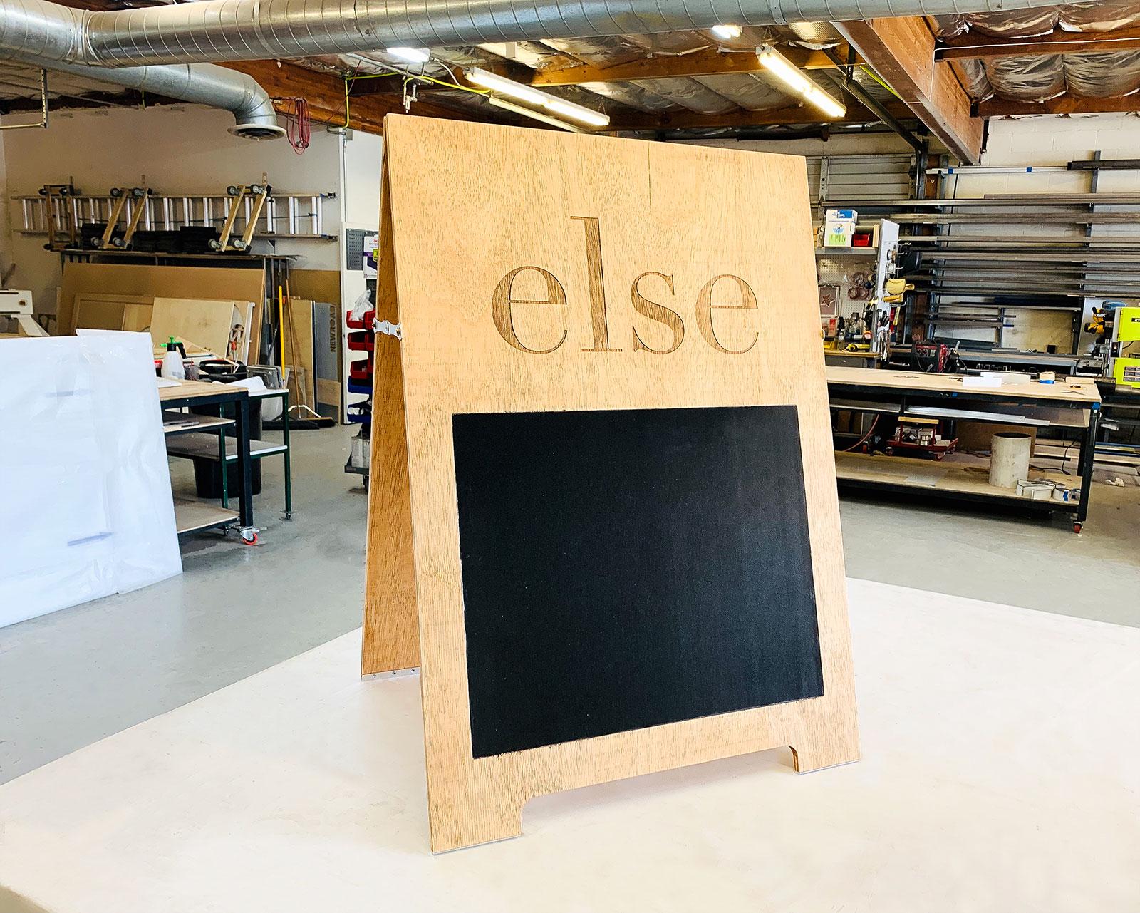 wooden sandwich board