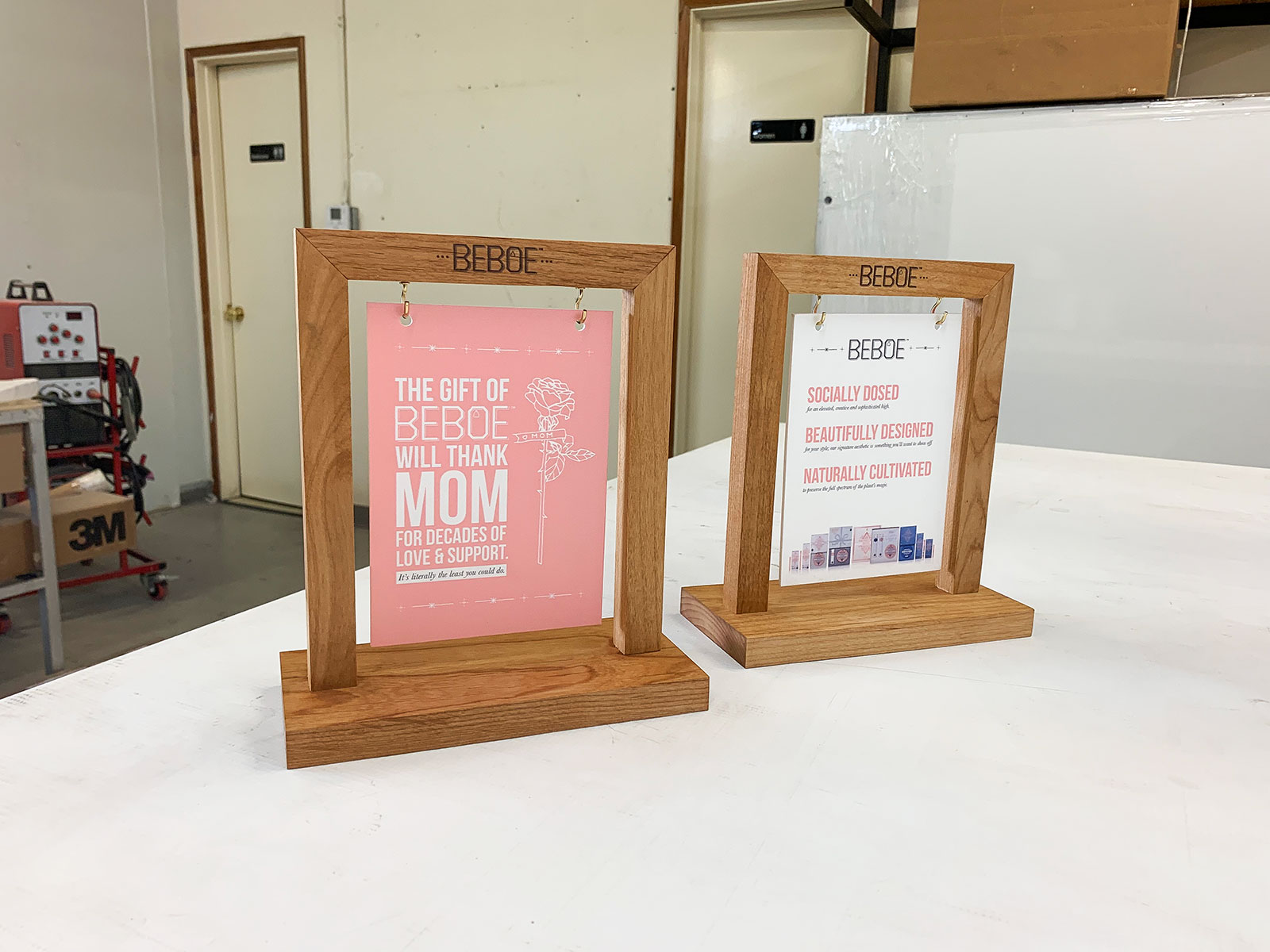 wooden tabletop signs