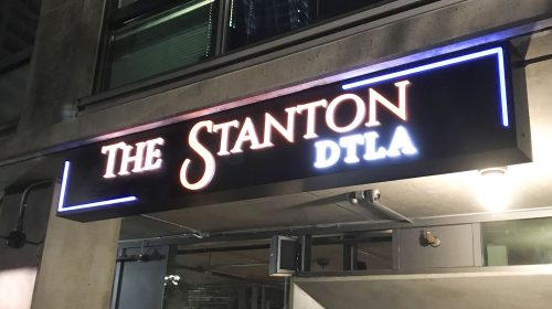The Stanton DTLA large light box above the entrance made of aluminum and acrylic for restaurant outdoor branding
