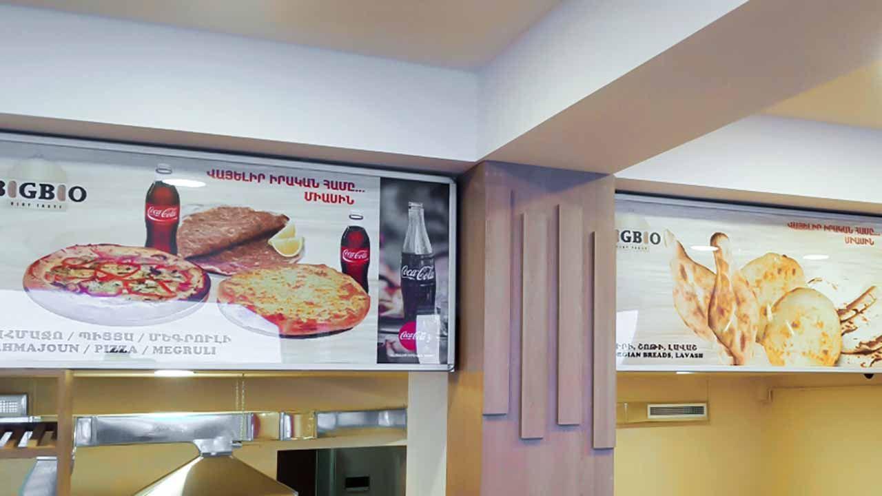backlit restaurant display
