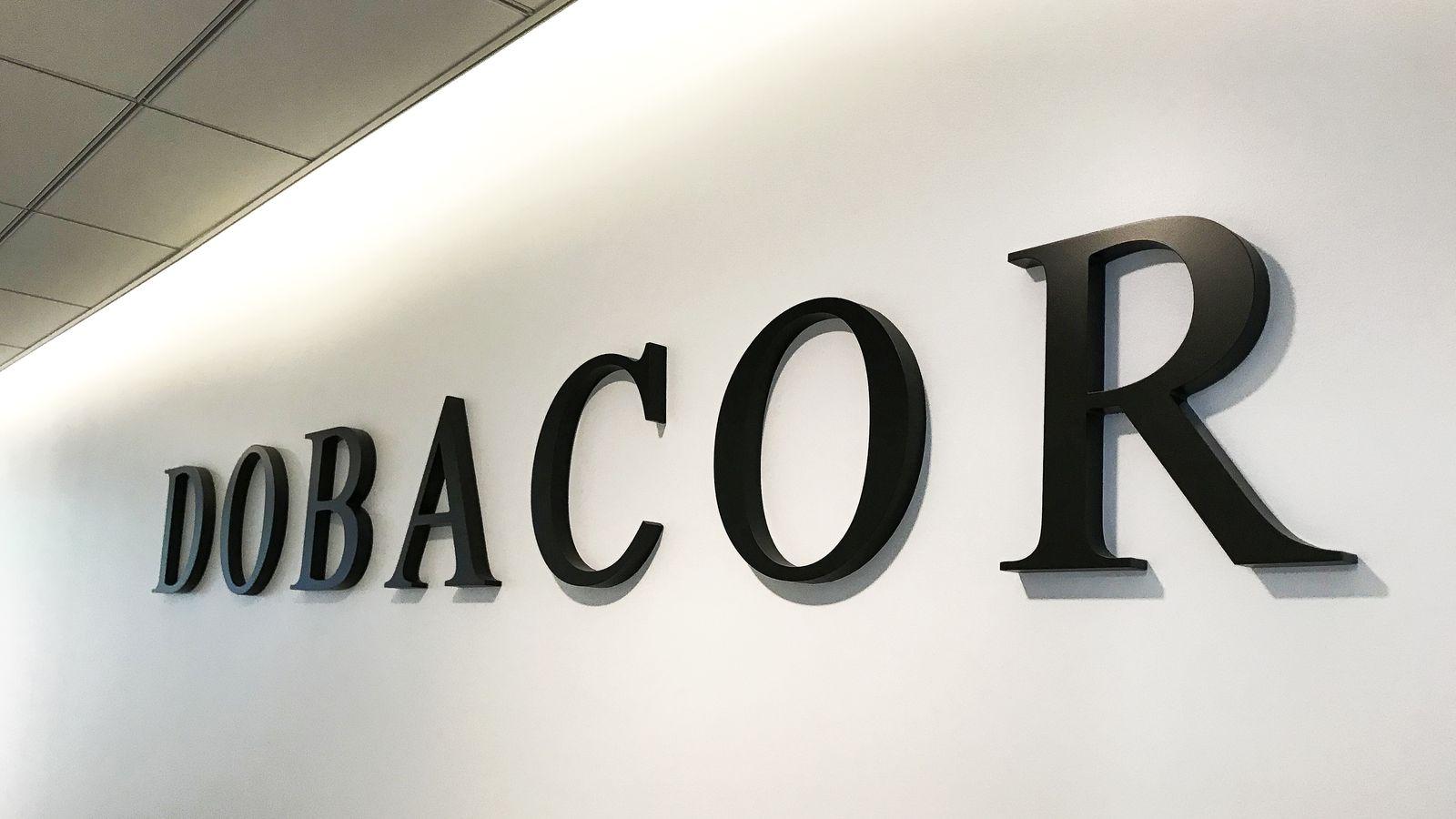 black acrylic office sign
