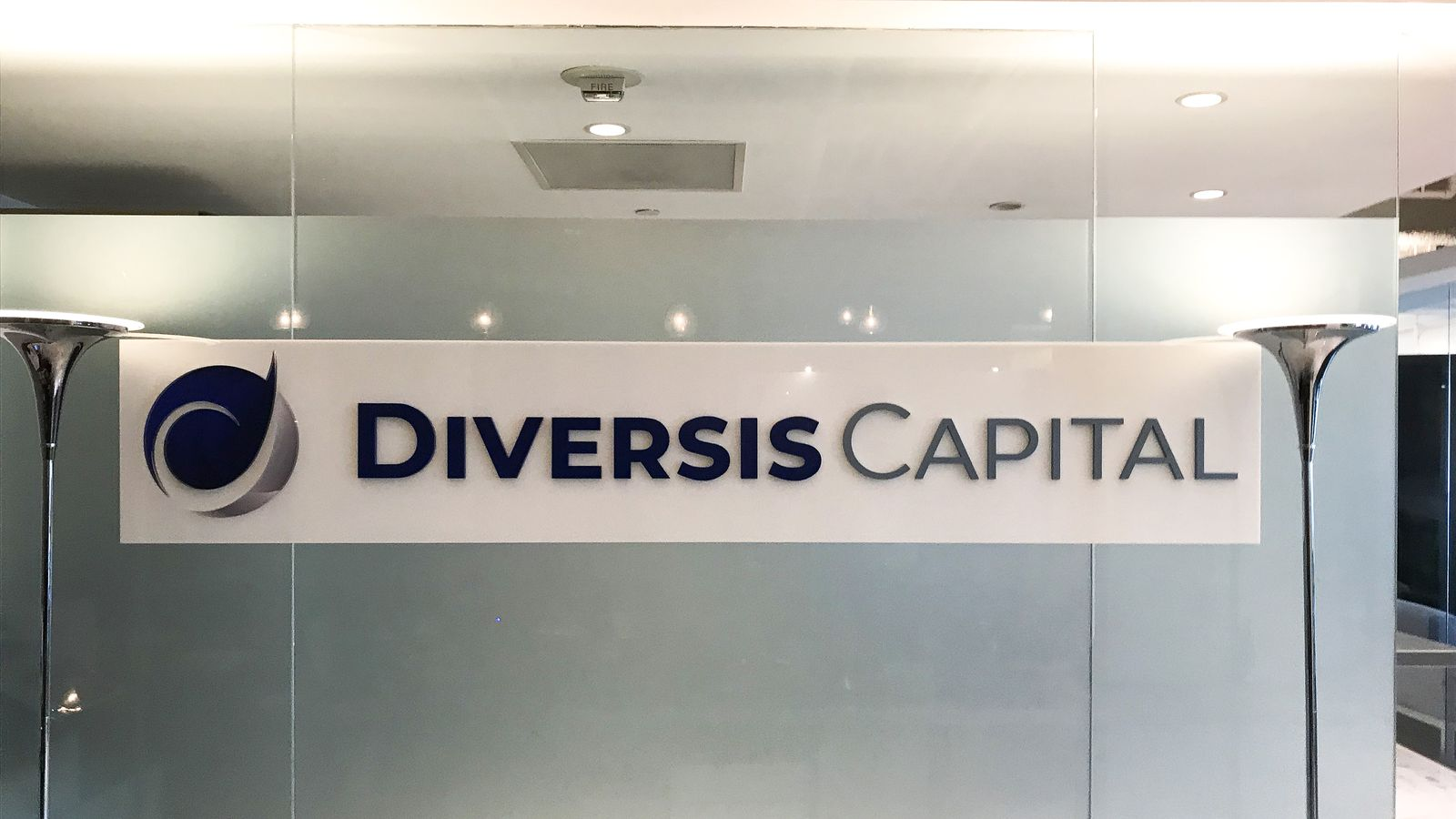 Diversis Captial 3d office sign displaying the company name and logo made of acrylic