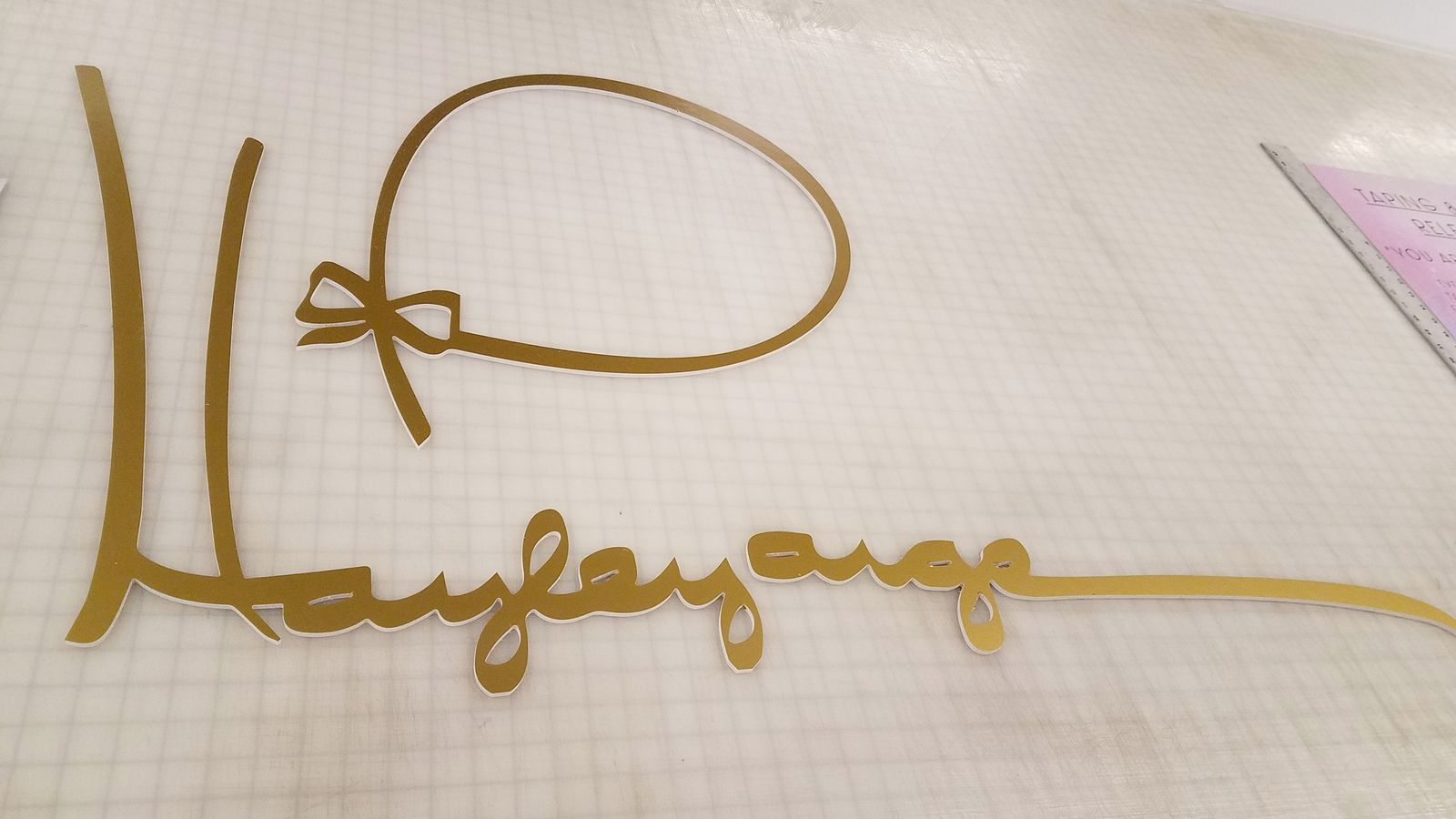 custom 3d foam letters and ribbon in golden color made of foam board for interior design