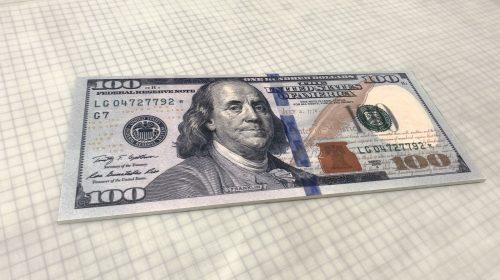 foamboard dollar bill