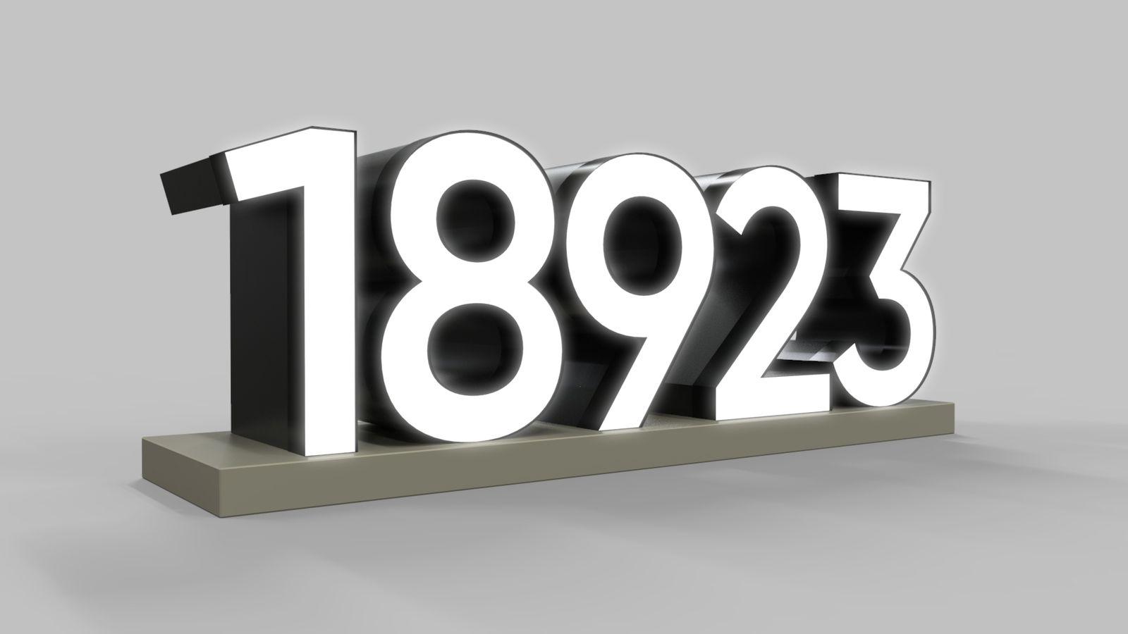 illuminated numbers 3d rendering