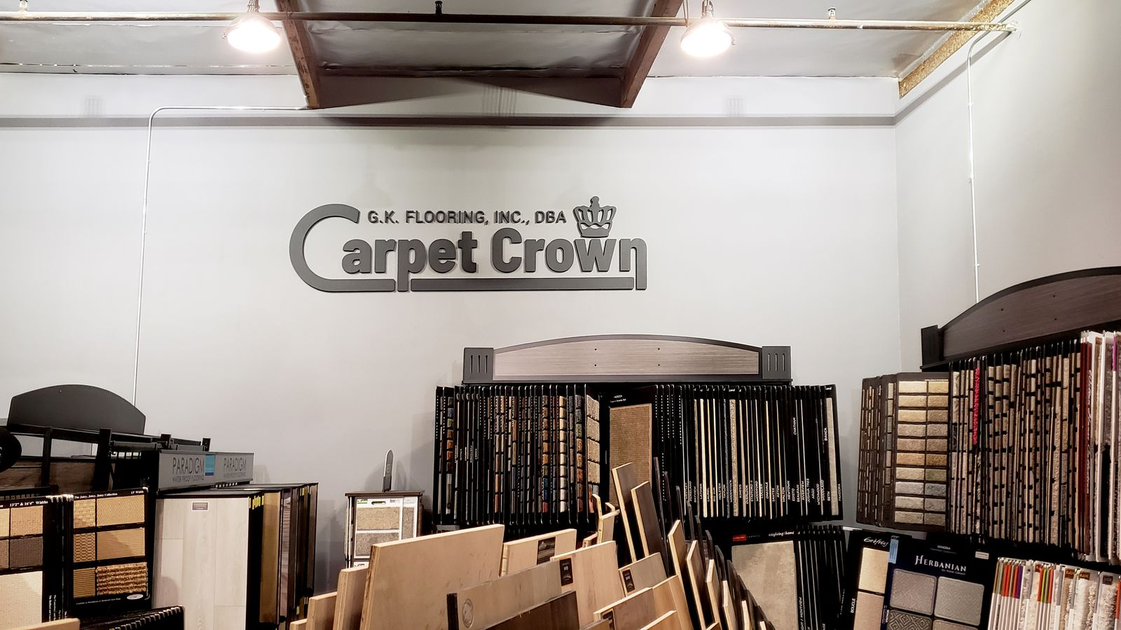 Carpet Crown 3d plastic letters and logo sign made of PVC for a carpet store interior branding
