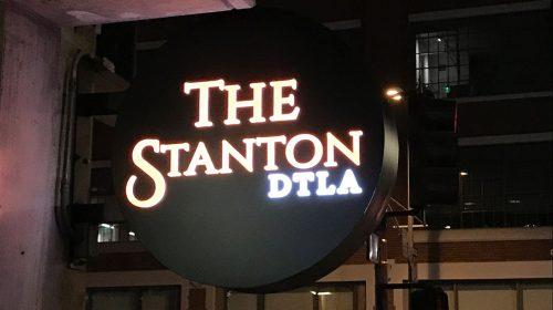 night illuminated logo sign