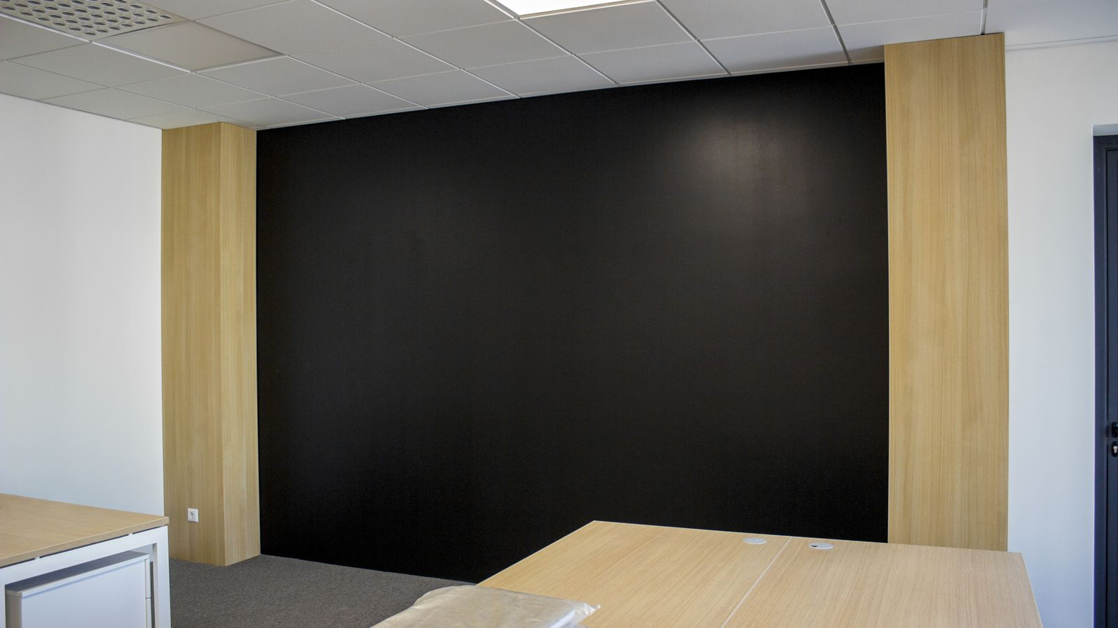 office wooden accent wall