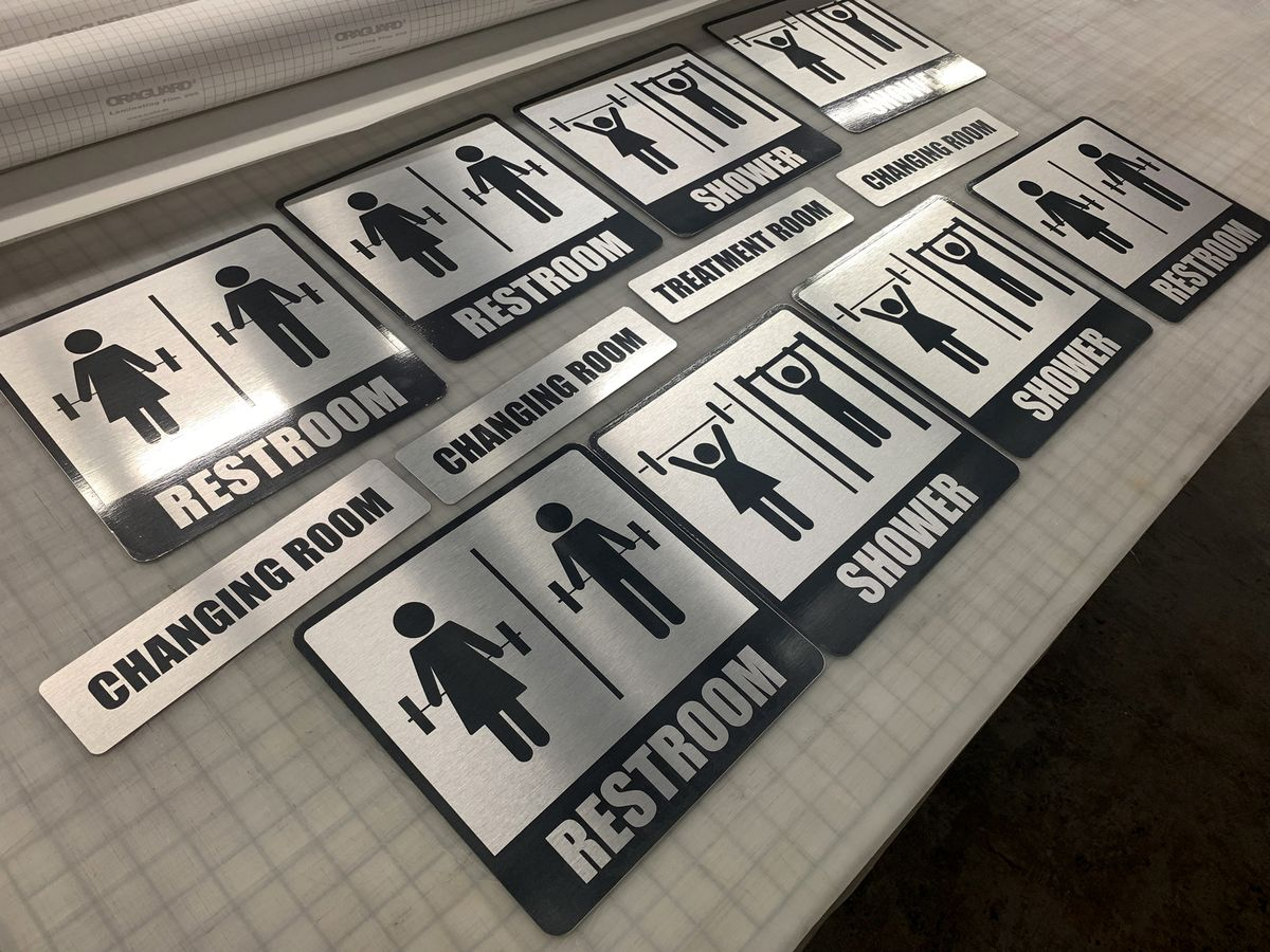 aluminum restroom signs