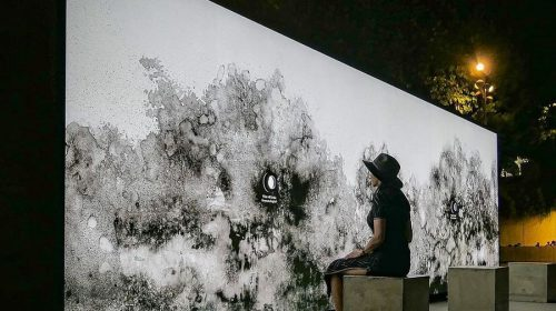 illuminated wall art installation