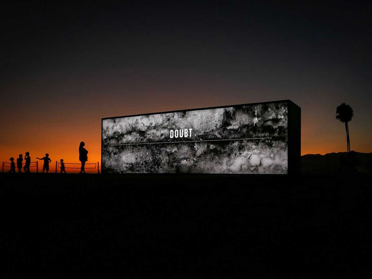 outdoor illuminated freestanding wall
